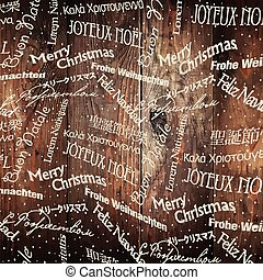 Christmas Words Pattern On Wooden Wall. Vector