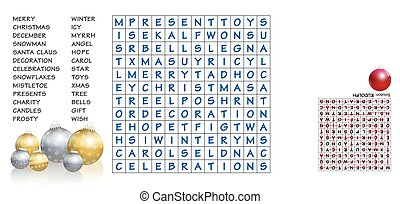 Christmas crossword - find the listed words in the puzzle and cross them out. The eight leftover letters will spell out an important character around christmas - the solution is depicted upside down.