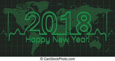 Christmas world map banner, 2018 happy new year, vector 2018 the crisis, the wave matrix of cardiology, the concept of success and prosperity