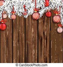 Christmas Worn Wood Baubles Twigs