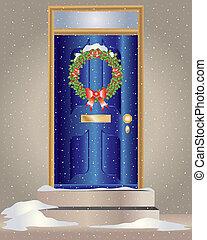 christmas wreath - an illustration of a christmas holly...