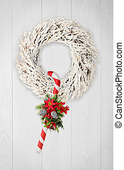 Christmas wreath and cane