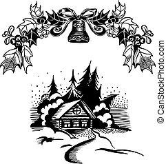 Christmas wreath and house