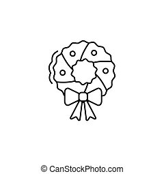 christmas wreath art line icon. Vector illustration esp 10