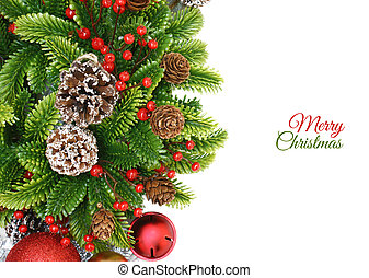 Christmas wreath background with berries, bells and pine...