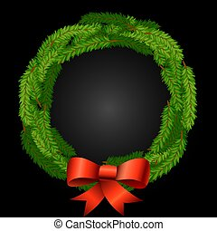 christmas wreath background with fir or pine branches and red bow of ribbons