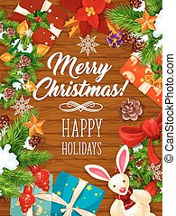 Christmas wreath banner on wooden background