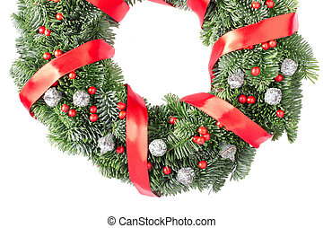 Christmas wreath border, red ribbon
