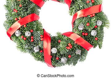 Christmas wreath border, red ribbon