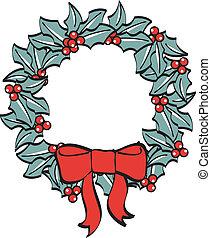 Christmas Wreath Bow Ribbon Clipart