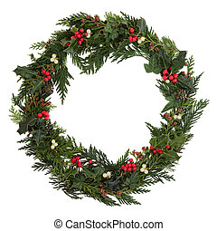 Christmas Wreath - Christmas decorative wreath of holly,...