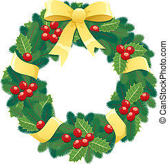 Christmas wreath. No transparency used. Basic (linear) gradients.