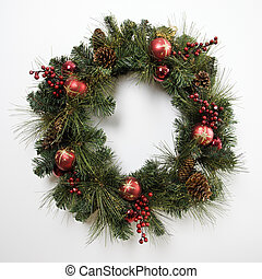 Christmas wreath. - Christmas wreath on door.