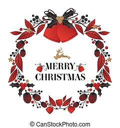 Christmas wreath decorated of Christmas bells and Merry Christmas text.
