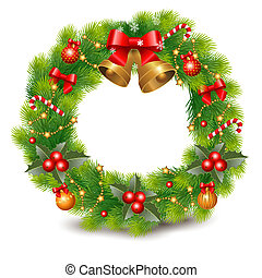 Christmas wreath decorated with balls, berry's and decorative elements