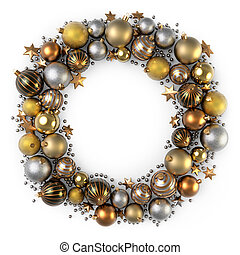 Christmas wreath decoration from gold color bubbles.