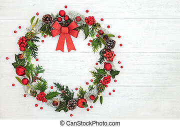 Christmas Wreath Decoration with Red Bow