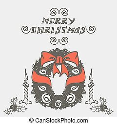 Christmas wreath doodles