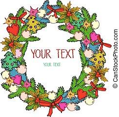 Christmas Wreath Drawing - Illustration