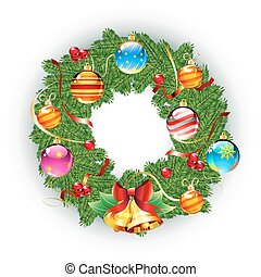 Christmas wreath - Vector illustration of green wreath with...