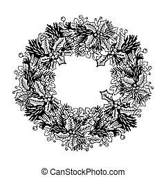 Christmas wreath engraving vector illustration