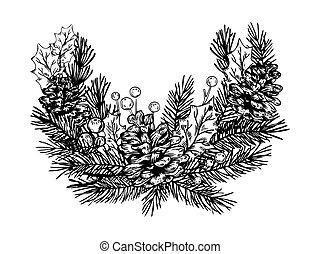 Christmas wreath engraving vector