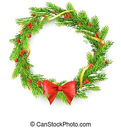 Christmas wreath, fir branches, red berries, golden ribbon and bow