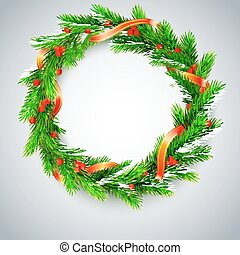 Christmas wreath, fir branches, red berries, golden ribbon