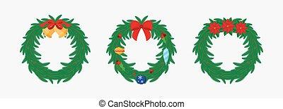 Christmas wreath. Flat.