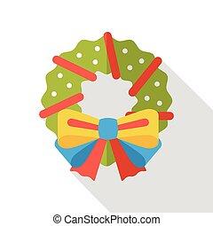 Christmas wreath flat icon