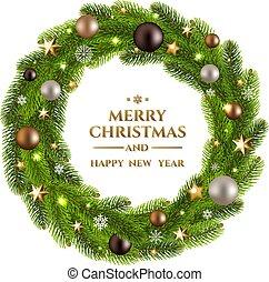 Christmas Wreath Fur Tree - Fur Tree With Gradient Mesh, ...