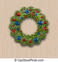 Christmas wreath. Green branch of fir with red, blue balls and snowflakes on a background of wood. Christmas cards. illustration