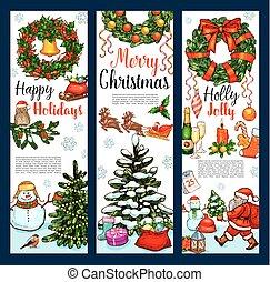 Christmas wreath greeting banner for Xmas holidays