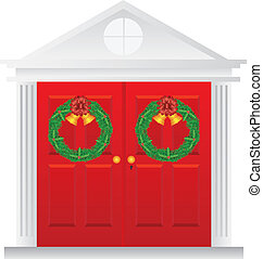 Christmas Wreath Hanging on Double Red Door Illustration -...