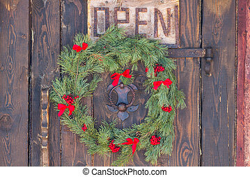 Christmas wreath hanging on the door