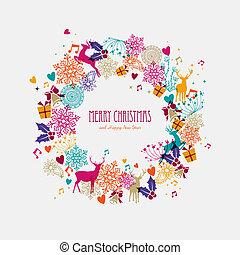 Christmas wreath holiday elements illustration - Merry...