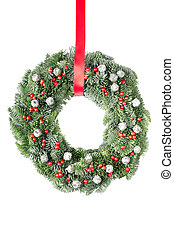 Christmas wreath hung