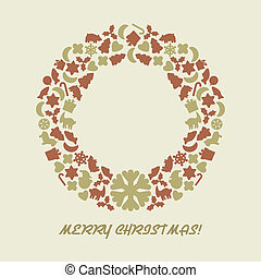 Christmas wreath in retro style