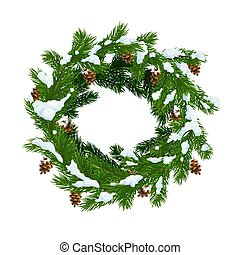 Christmas wreath in snow and pinecones