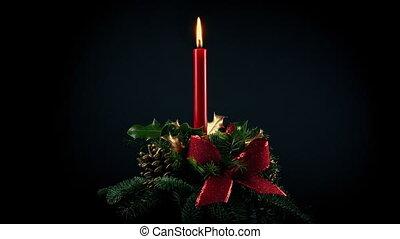 Christmas Wreath In The Dark - Festive wreath with pine...
