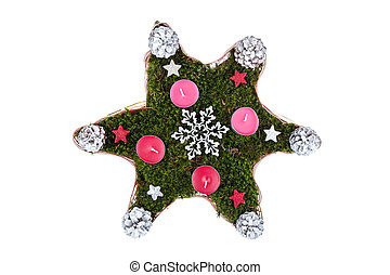 Christmas wreath in the shape of a star isolated on white background