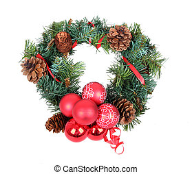 Christmas wreath, isolated on white background