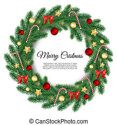 Christmas wreath isolated on white background. Vector illustration.
