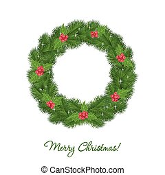 Christmas wreath isolated over white background
