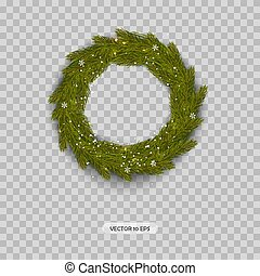 Christmas Wreath isolated. Realistic Christmas Tree Branches...