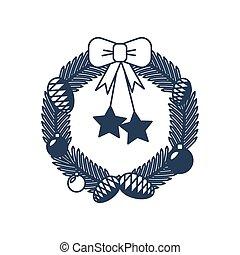 Christmas wreath isolated vector icon