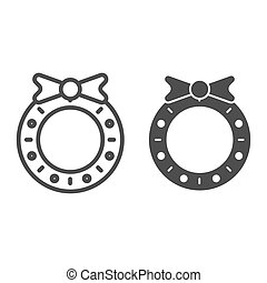 Christmas wreath line and glyph icon. Christmas decoration vector illustration isolated on white. Christmas door decor outline style design, designed for web and app. Eps 10.