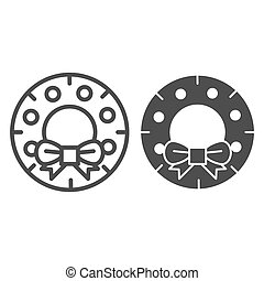 Christmas wreath line and glyph icon. Christmas door decoration vector illustration isolated on white. Xmas decor outline style design, designed for web and app. Eps 10.