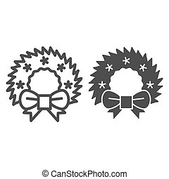 Christmas wreath line and glyph icon. Cristmas decoration vector illustration isolated on white. Xmas door decor outline style design, designed for web and app. Eps 10.