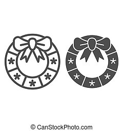Christmas wreath line and glyph icon. Xmas decoration vector illustration isolated on white. Door decor outline style design, designed for web and app. Eps 10.